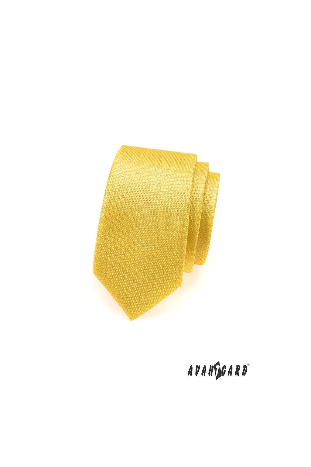 Kravata SLIM, 551-490, Žlutá