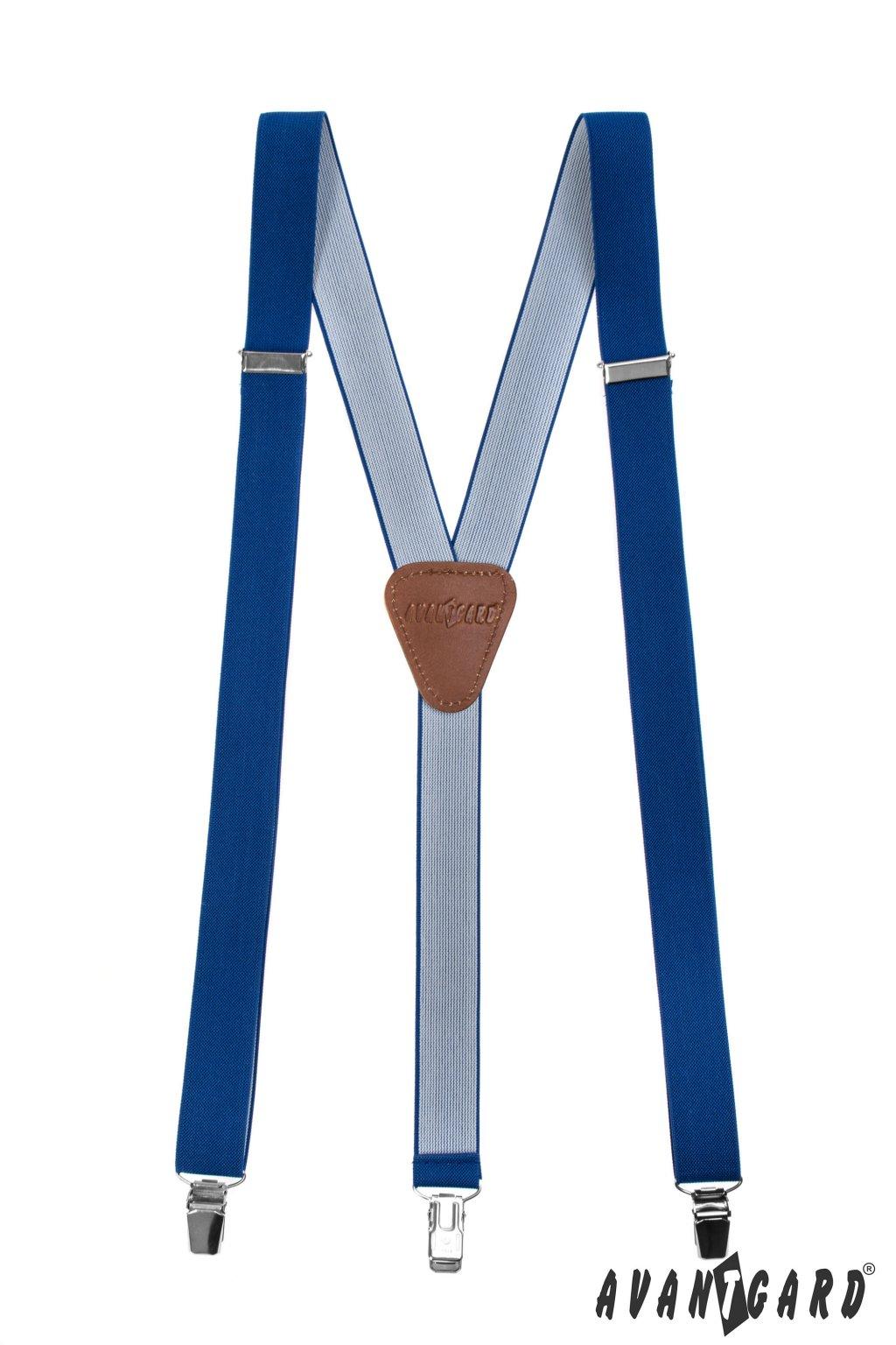 Šle Y s koženým středem a zapínáním na klipy - 25 mm, 867-73563, Královsky modrá, tmavě hnědá kůže