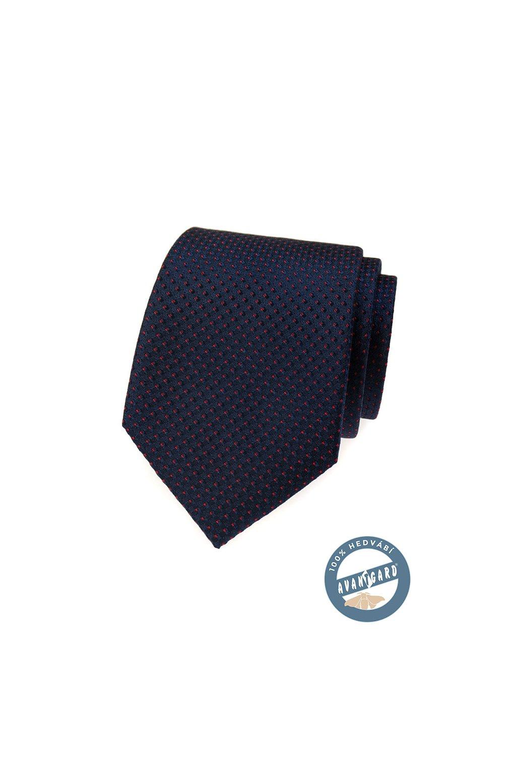 Kravata hedvábná v dárkové krabičce, 621-7722, Modrá