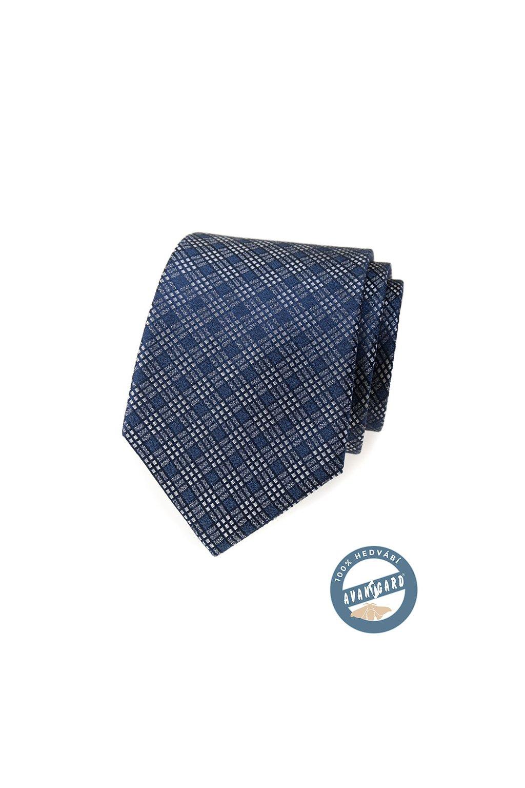Kravata hedvábná v dárkové krabičce, 621-7736, Modrá