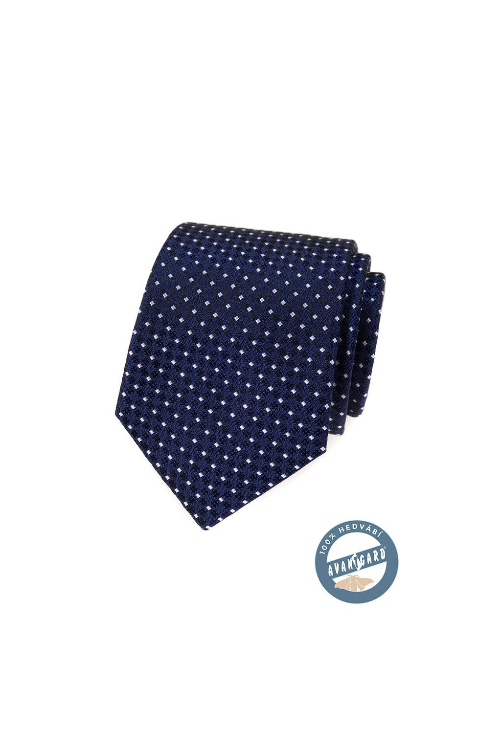 Kravata hedvábná v dárkové krabičce, 621-7739, Modrá