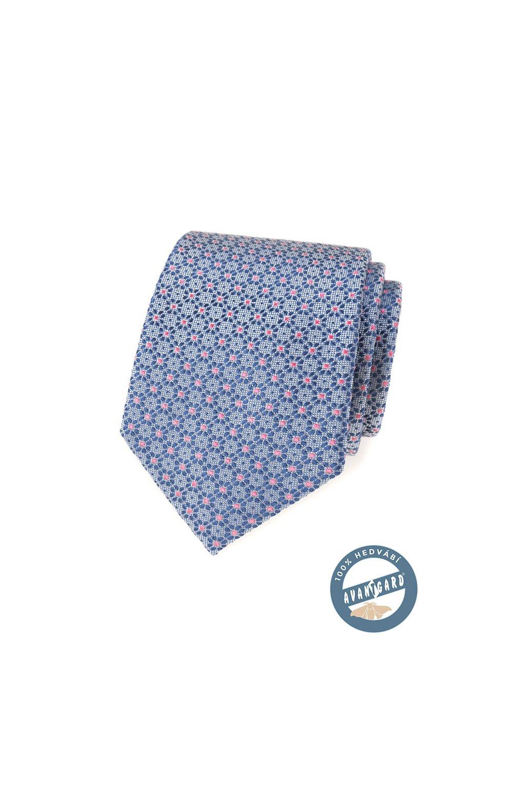 Kravata hedvábná v dárkové krabičce, 621-7741, Modrá