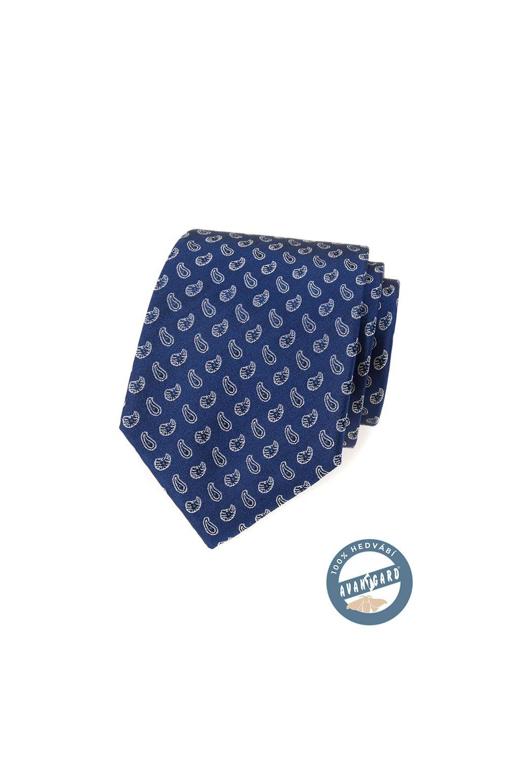 Kravata hedvábná v dárkové krabičce, 621-7745, Modrá