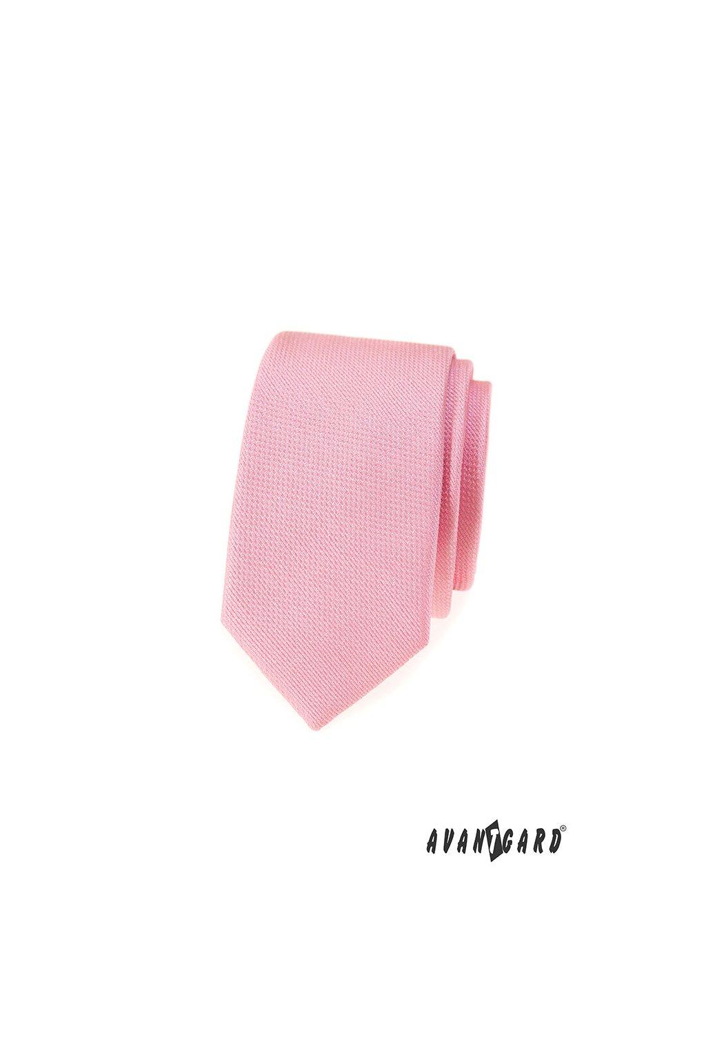 Kravata SLIM LUX, 571-81281, Růžová