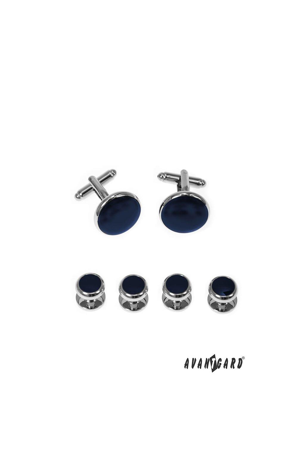 Sada knoflíčků do frakové košile, 590-20204, Stříbrná lesk/modrá