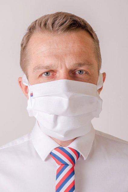 Bavlněná rouška na ústa a nos dvouvrstvá skládaná s kapsou, se šňůrami z keprové stuhy, 797-111218, Bílá/červená/modrá