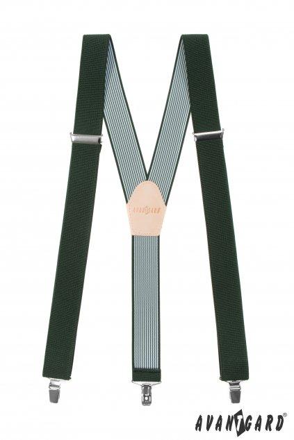Rybářské šle Y s koženým středem a zapínáním na klipy - 35 mm, 856-470512, Zelená, Petrův Zdar