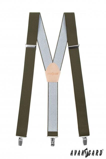 Myslivecké šle Y s koženým středem a zapínáním na klipy - 35 mm, 856-480812, Khaki, Lovu Zdar