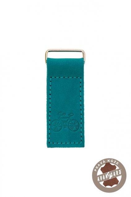 Klíčenka z pravé kůže, 802-742309, Tyrkysová/kolo