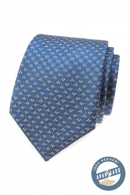 Kravata hedvábná v dárkové krabičce, 621-7754, Modrá