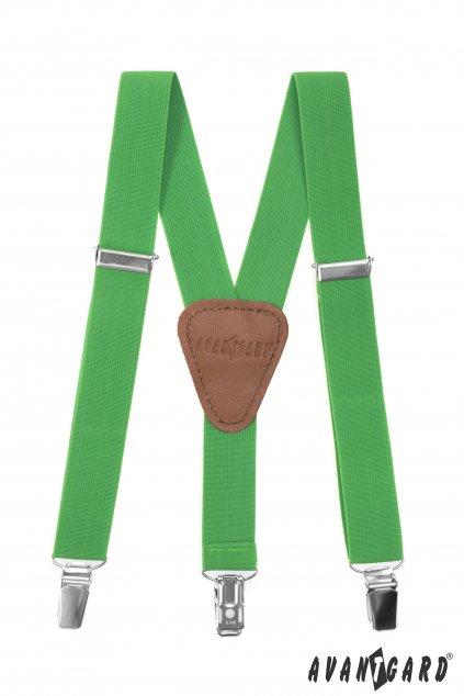 Chlapecké šle Y s koženým středem a zapínáním na klipy - 25 mm, 862-982963, Zelená, tmavě hnědá kůže