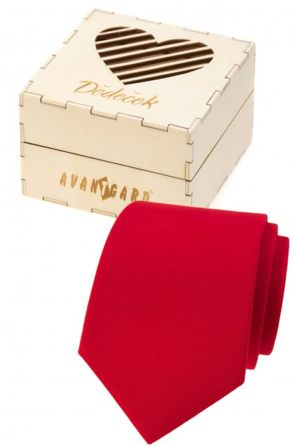 Dárkový set Dědeček - Kravata LUX v dárkové dřevěné krabičce s nápisem, 919-985725, Červená, přírodní dřevo