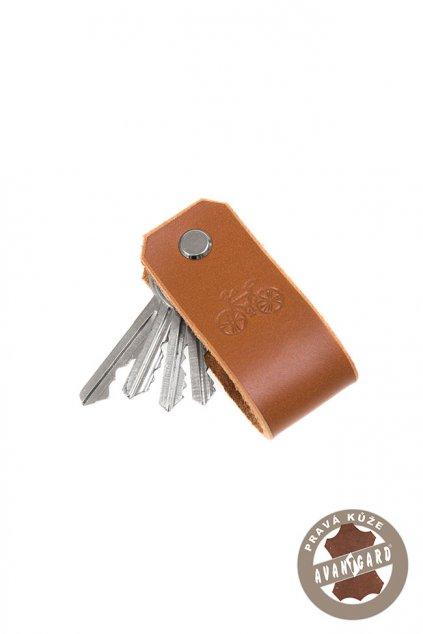 Klíčenka z pravé kůže s ražbou kola, 805-6905, Hnědá