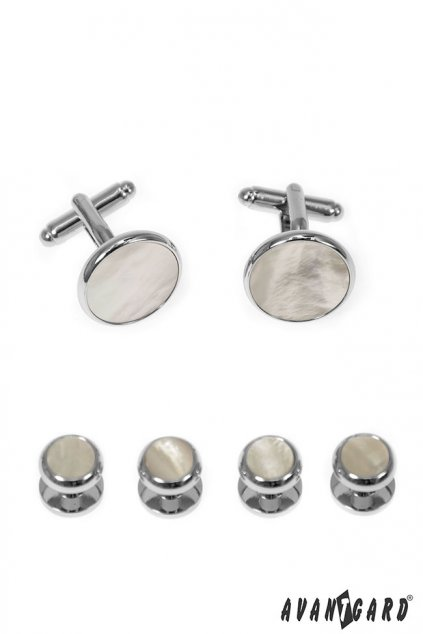 Sada knoflíčků do frakové košile, 590-20203, Stříbrná lesk/perleťová