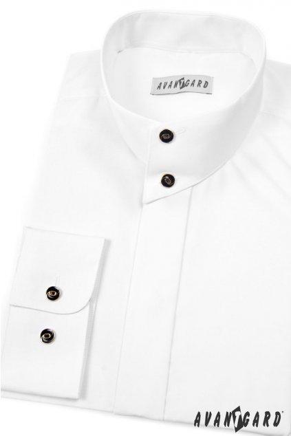 Pánská košile se stojáčkem na 2 knoflíčky, 452-1, Bílá