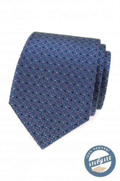 Kravata hedvábná v dárkové krabičce, 621-7755, Modrá