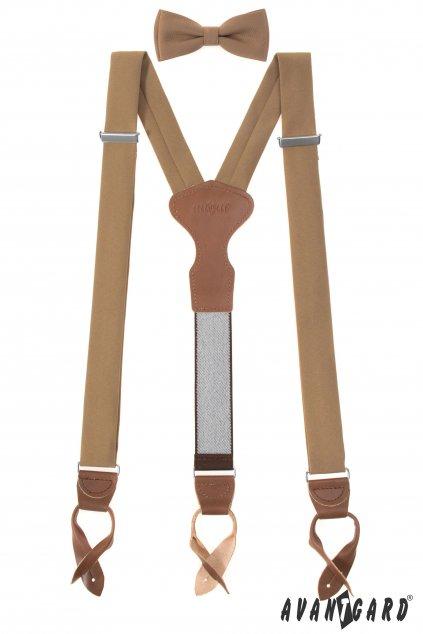 Set Látkové šle Y s koženým středem a poutky - 35 mm, motýlek a kapesníček, 885-985463, Hnědá, tmavě hnědá kůže