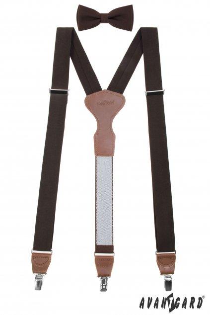 Set Látkové šle Y s koženým středem a zapínáním na klipy - 35 mm, motýlek a kapesníček, 881-985563, Hnědá, tmavě hnědá kůže