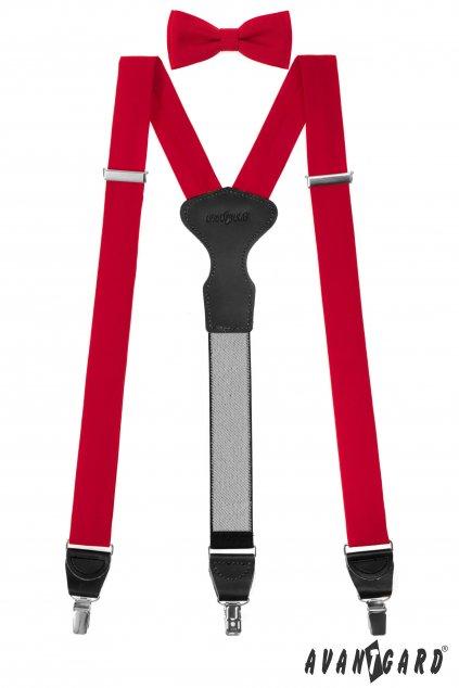 Set Látkové šle Y s koženým středem a zapínáním na klipy - 35 mm, motýlek a kapesníček, 881-985723, Červená, černá kůže