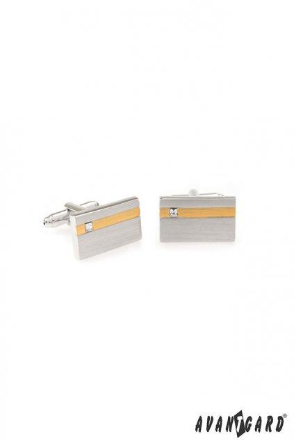 Manžetové knoflíčky PREMIUM, 573-30065, Stříbrná, zlatá