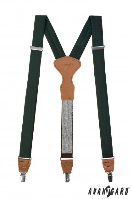 Látkové šle Y s koženým středem a zapínáním na klipy - 35 mm - v dárkovém balení, 878-986069, Zelená, koňaková kůže