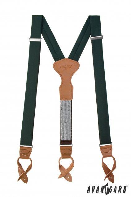 Látkové šle Y s koženým středem a poutky - 35 mm - v dárkovém balení, 879-986069, Zelená, koňaková kůže