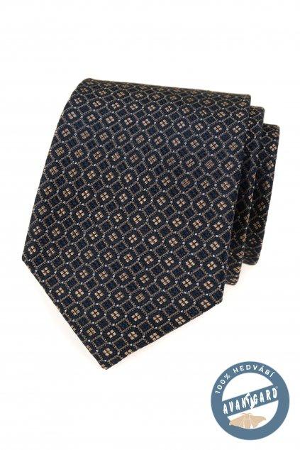 Kravata hedvábná v dárkové krabičce, 621-7763, Modrá/hnědá