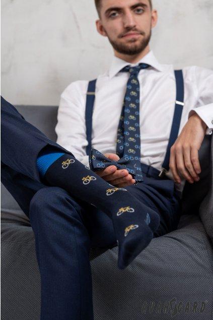Set motýlek a ponožky, 779-05009, Modrá / vzor cyklistika