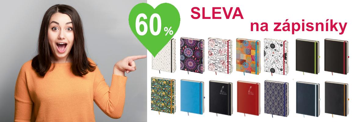 60% sleva na zápisníky