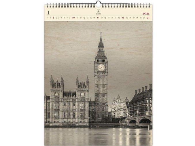 Luxusní dřevěný obrazový kalendář Big Ben