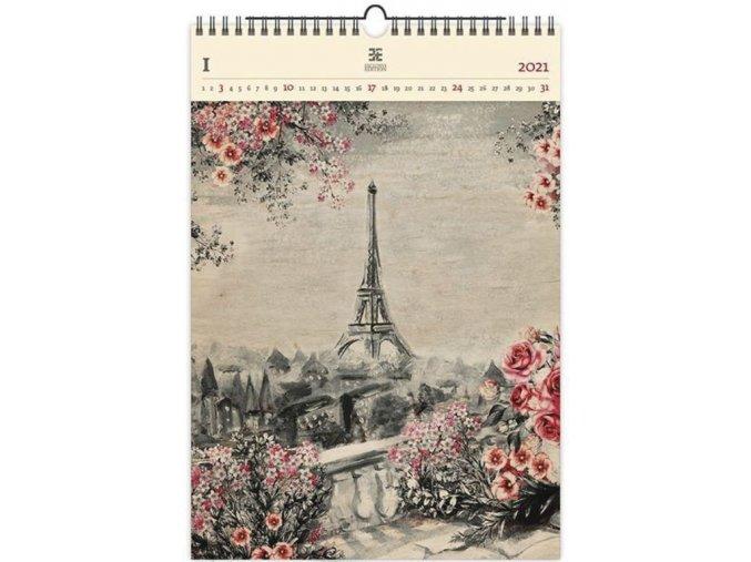 Luxusní dřevěný obrazový kalendář Eiffel Tower