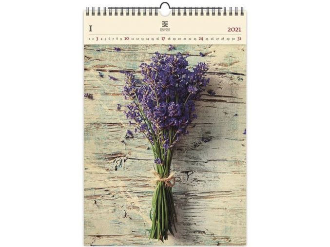 Luxusní dřevěný obrazový kalendář Levander