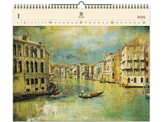 Luxusní dřevěný obrazový kalendář Venezia IV.