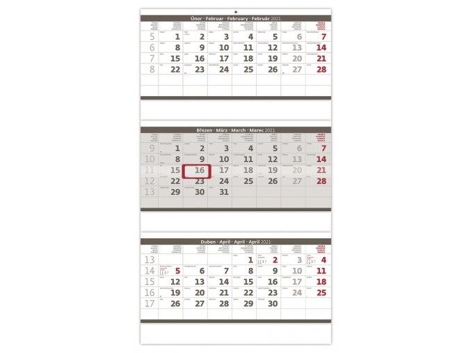 Tříměsíční kalendář skládaný šedý