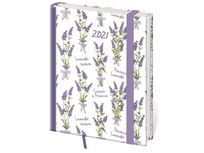Denní diář B6 Vario Lavender s gumičkou