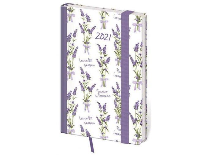 Kapesní diář Vario Lavender s gumičkou