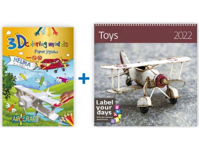 3D omalovánky Letadlo a kalendář Toys