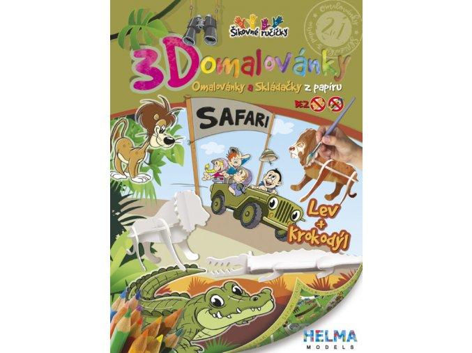 3D omalovánky Safari - krokodýl a lev