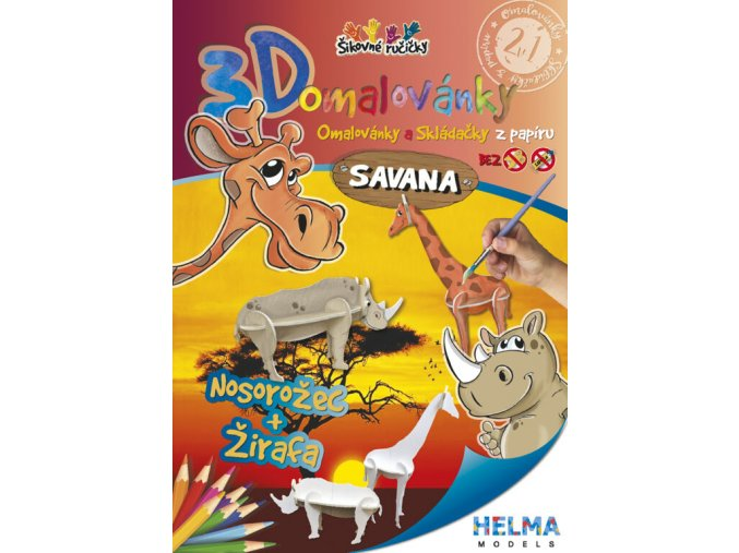 3D omalovánky Savana - žirafa a nosorožec