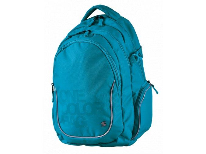 Studentský batoh Teen One Colour tyrkys s dárkem  + dárek dle vlastního výběru