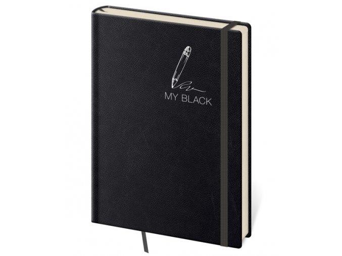 Linkovaný zápisník D6 My Black kapesní (S)