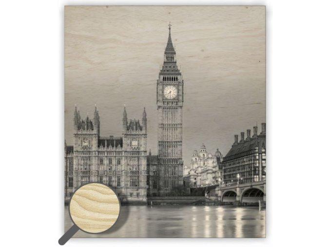Dřevěný obraz na stěnu Big Ben, černobílý obraz