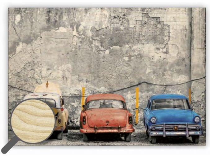Dřevěný retro obraz na zeď Cars