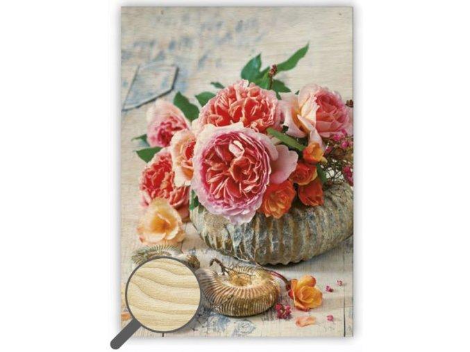 Dřevěný obraz květiny na stěnu Shell v korálové barvě
