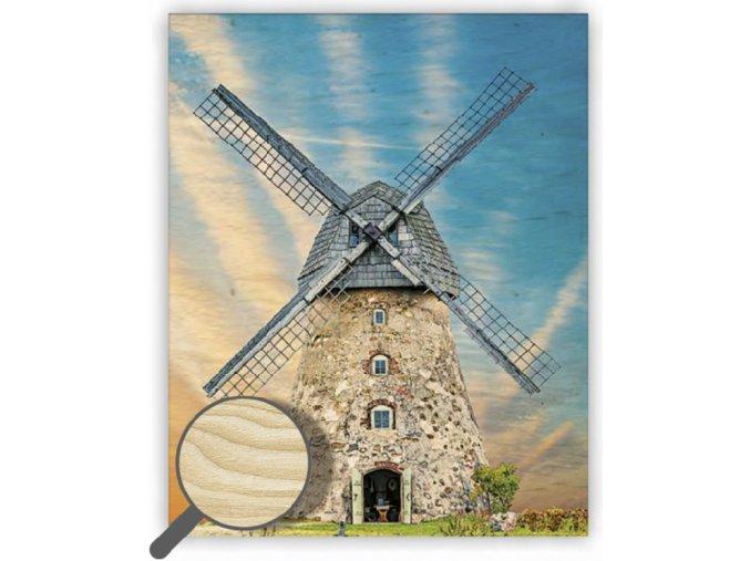 Dřevěný obraz na stěnu Windmill s motivem větrného mlýna