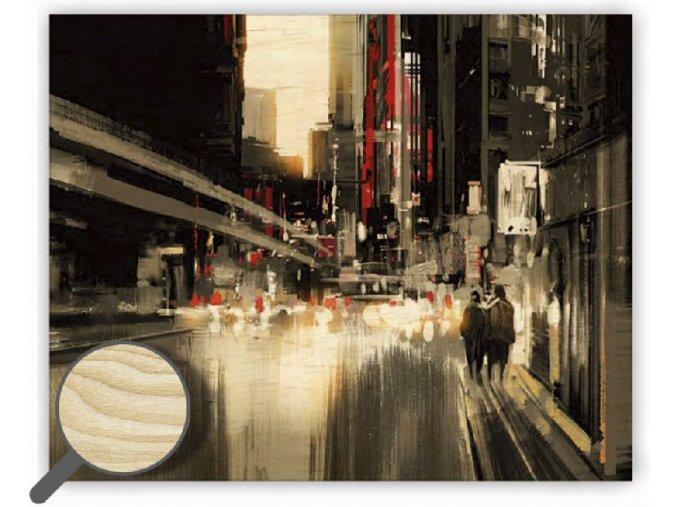 Dřevěný moderní obraz na stěnu City, černobílý obraz