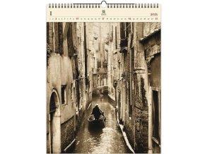 Luxusní dřevěný obrazový kalendář Venezia