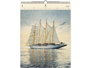 Luxusní dřevěný obrazový kalendář Sailing