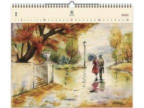 Luxusní dřevěný obrazový kalendář Romance
