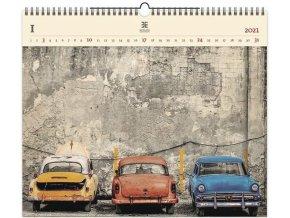 Luxusní dřevěný obrazový kalendář Cars